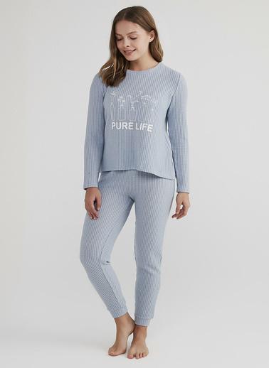 Penti Açık Mavi Pure Life Waffle Pijama Takımı Mavi